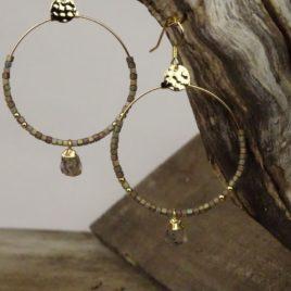 Boucles d'oreilles dorées à l'or fin et quartz fumé