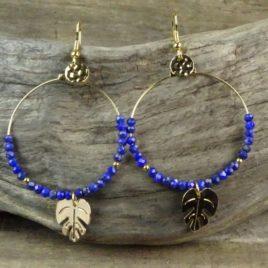 Créoles dorées à l'or fin et lapis-lazuli
