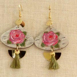 Boucles d'oreilles roses roses