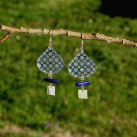 Boucles d'oreilles argent 925 pois lapis-lazuli