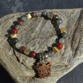 Agate multicolore vermeil et papillon en corne