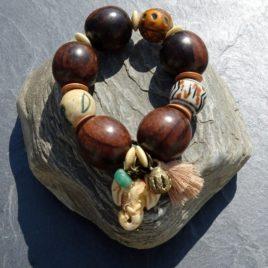 Bracelet bois de kamagong céramique corne bronze éléphant sculpté