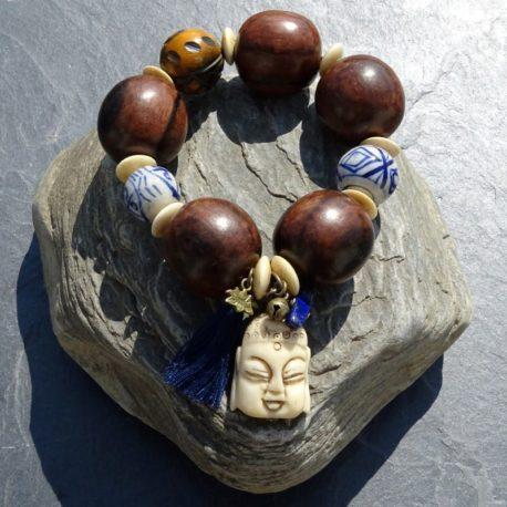Bracelet bois de kamagong Bouddha en os (2)