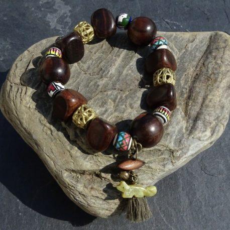 Bracelet bois de kamagong bronze et céramique (2)
