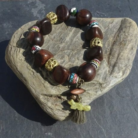 Bracelet bois de kamagong bronze et céramique (3)