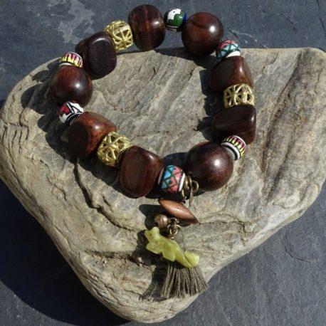 Bracelet bois de kamagong bronze et céramique