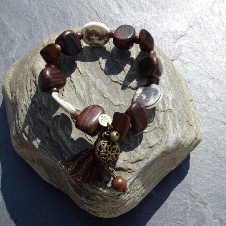 Bracelet bois de kamagong et céramique