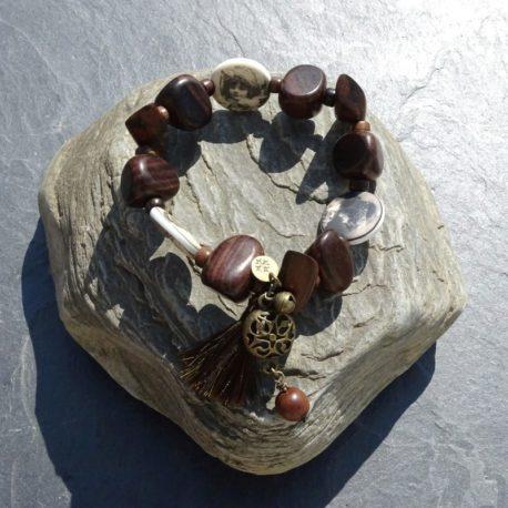 Bracelet bois de kamagong et céramique (3)