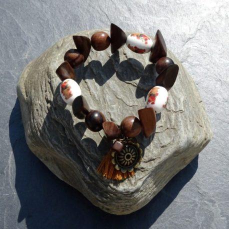 Bracelet bois de kamagong et céramique (4)