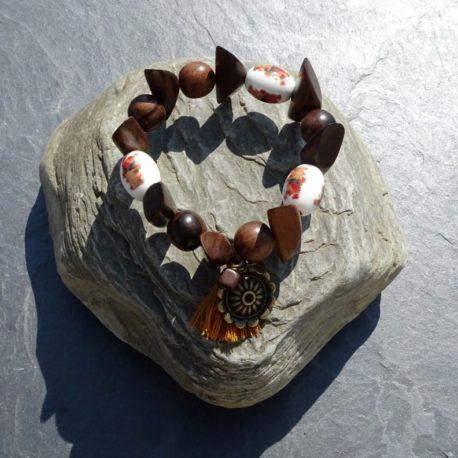 Bracelet bois de kamagong et céramique (5)