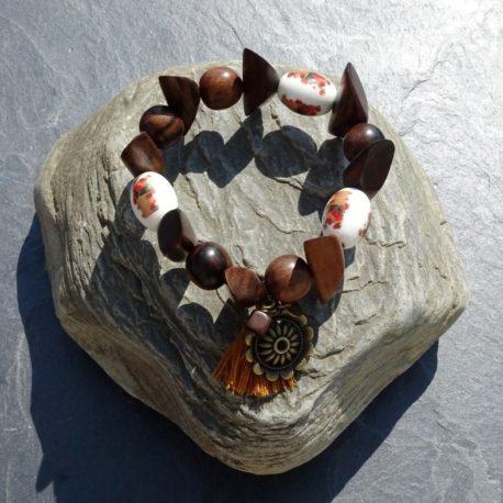 Bracelet bois de kamagong et céramique (6)