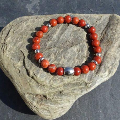 Bracelet homme jaspe rouge et acier (2)