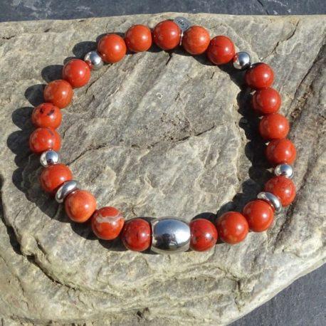 Bracelet homme jaspe rouge et acier (3)
