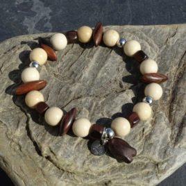 Bracelet jaspe écru et bois de kamagong
