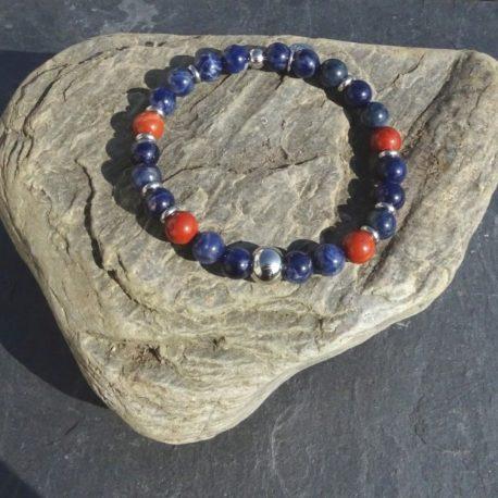 Bracelet sodalite jaspe rouge et acier (2)