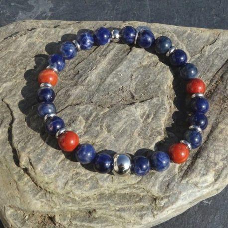 Bracelet sodalite jaspe rouge et acier (3)