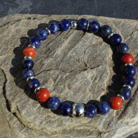 Bracelet sodalite jaspe rouge et acier