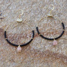 Boucles d'oreilles créoles dorées à l'or fin
