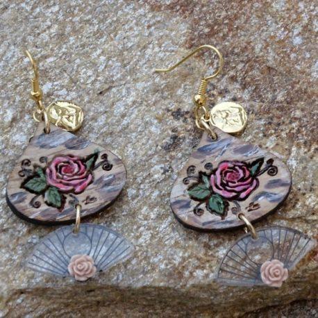 Boucles d'oreilles roses (3)