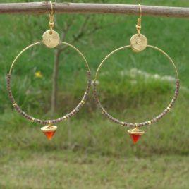 Boucles d'oreilles dorées à l'or fin cornaline