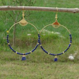 Boucles d'oreilles dorées à l'or fin lapis-lazuli