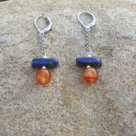 Boucles d'oreilles argent 925 cornaline et lapis-lazuli