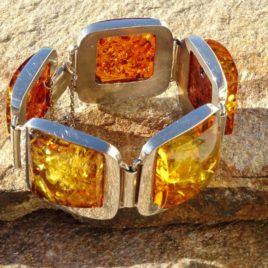 Bracelet argent 925 ambre de la Baltique pièce unique