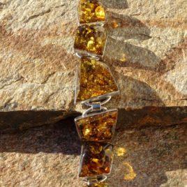 Bracelet argent 925 et ambre de la Baltique pièce unique