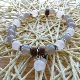 Bracelet agate grise et quartz rose