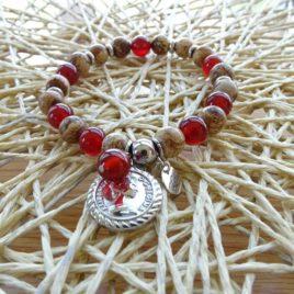 Bracelet cornaline foncée et jaspe paysagé