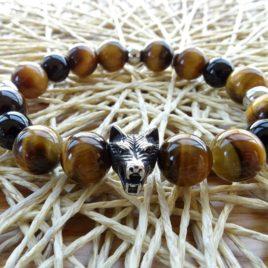 Bracelet homme œil de tigre et onyx