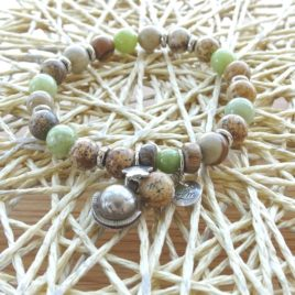 Bracelet jade et jaspe paysagé