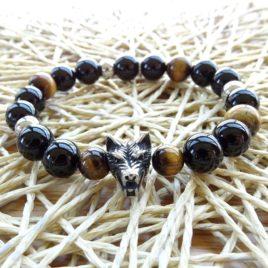 Bracelet homme onyx – œil de tigre – tête de loup