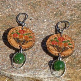 Boucles d'oreilles art nouveau et jade