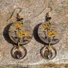 Boucles d'oreilles coquelicots et quartz fumé