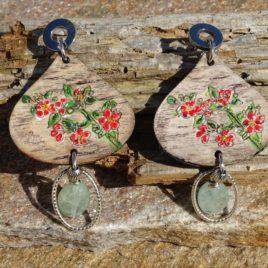 Boucles d'oreilles bouquet de fleurs et aigue-marine