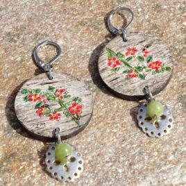 Boucles d'oreilles fleurs et jade