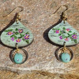 Boucles d'oreilles bouquet de fleurs et jade