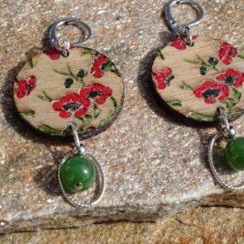 Boucles d'oreilles fleurs de cerisiers et jade
