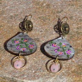 Boucles d'oreilles bouquet de fleurs et quartz rose