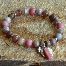 Bracelet agate grise et rhodonite