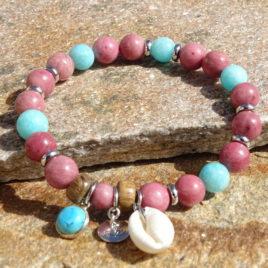 Bracelet rhodonite, amazonite, turquoise et coquillage