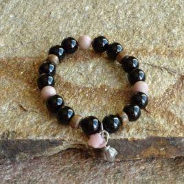 Bracelet onyx rhodonite et opale rose