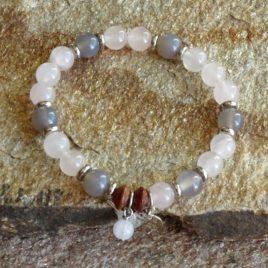 Bracelet quartz rose et agate grise